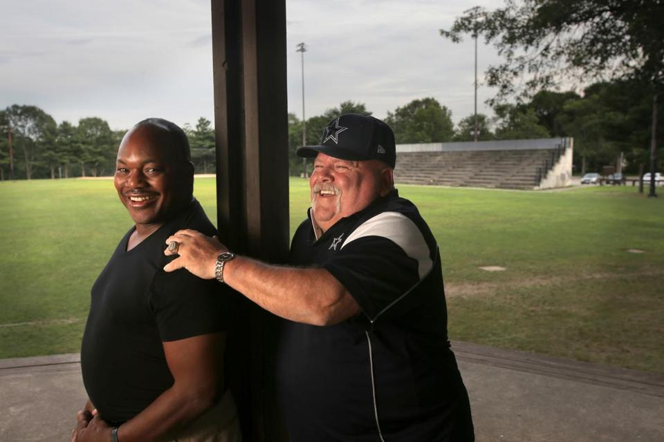 Boston, MA - 07/25/15 - Larry DeVoe (hat) and Richard Young (prefers to be identified as Richard, NOT Richie) at Kelly Field, where the Hyde Park Cowboys won their first game. Lane Turner/Globe Staff Section: MAG Reporter: Scott Helman Slug: